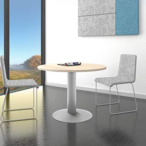 Ahorn Runde Tisch (WeberBÜRO Optima runder Besprechungstisch Esstisch Küchentisch Tisch Ahorn Rund Ø 100 cm)