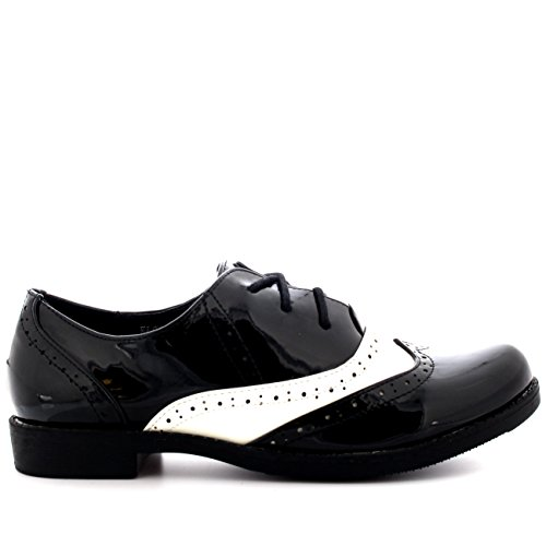 Viva Femmes Broguess Cap Daile Travail Cru Formel Designer Bureau Chaussures Plates Noir/Blanc Brevet