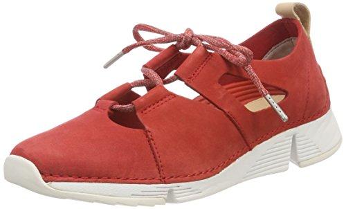 Clarks Damen Tri Sense Sneaker, Rot (Red Nubuck), 39.5 EU Red Nubuck Schuhe