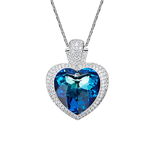 Oven moda® cuore blu placcato collana in argento per le donna con cristalli swarovski su catena 46cm/18