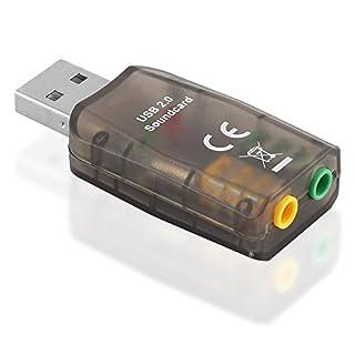Externe USB 3D Soundkarte AUX IN OUT / 1 2.0 USB A-Stecker auf 2 3,5mm Klinke Kupplung Buchse weiblich ( 1 Mikrofon und 1 Kopfhörer )