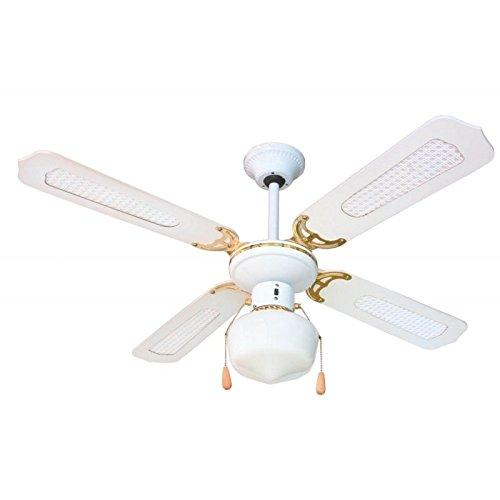 Zephir ZFS9107B Ventilateur décoratif de plafond E27, 60W - Blanc