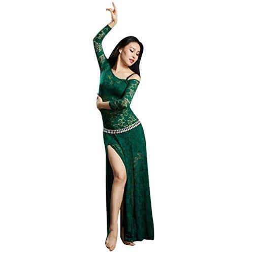 YuanDian Mujer Encaje Vestidos De Danza Del Vientre División Alta Mangas Largas Perspectiva Elegante Tribal Oriental Arabian Dance Vestido Ropa Trajes (Sin Cadena De Cintura) Verde Oscuro
