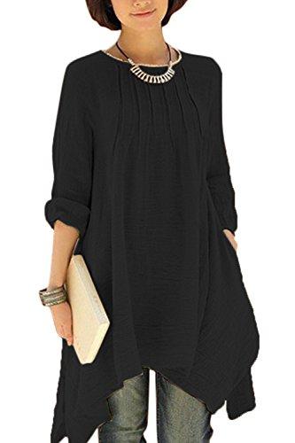 Women Plus Size Casual Solid Boton Atras Abajo Suelta De Algodón Vestido De Túnica Irregular Black 3XL