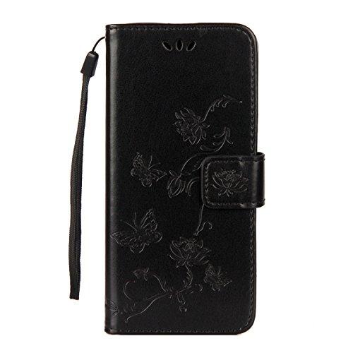 Carols Coque Samsung Galaxy A6 2018, Gaufrage PU Etui TPU Bumper Case,Cuir PU Housse Protection Antichoc Coquille Coque pour Samsung Galaxy A6 2018 - Noir