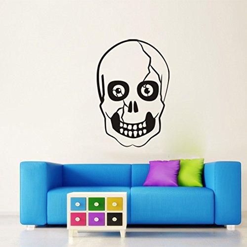 Weaeo Schwarz Riss Skelett Schädel Kopf Wand Vinyl Sticker Aufkleber Beauty Haare Frisör Salon Abnehmbare Wand Aufkleber Wandbild Tapeten