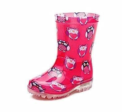 Bottes en caoutchouc pour enfant Motif dinosaure clignotant Sole Bottes Hiver Bottes de pluie Taille - Rose - rose,
