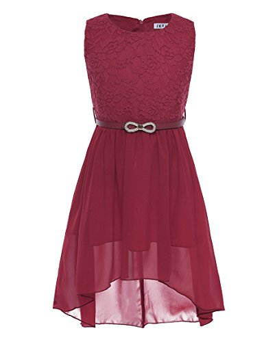 d Festlich Tüll Sommer Kleid Blumenmädchen Hochzeit Festzug Bekleidung mit Schleife 116-164 (164, Weinrot) (Festliche Kleider Für Kinder)
