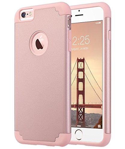 iPhone 6S Schutzhülle, iPhone 6Schutzhülle, zaox Slim Dual Layer Weichem Silikon Bumper und Harte PC Back Cover, Dämpfung & griffsicheres Kratzfest Hybrid Case für Apple iPhone 6/6S, Rose Gold