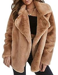 Juleya Abrigo de Invierno de Mujer Piel Sintética Fluffy Cuello de Chaqueta De Color SóLido Parker