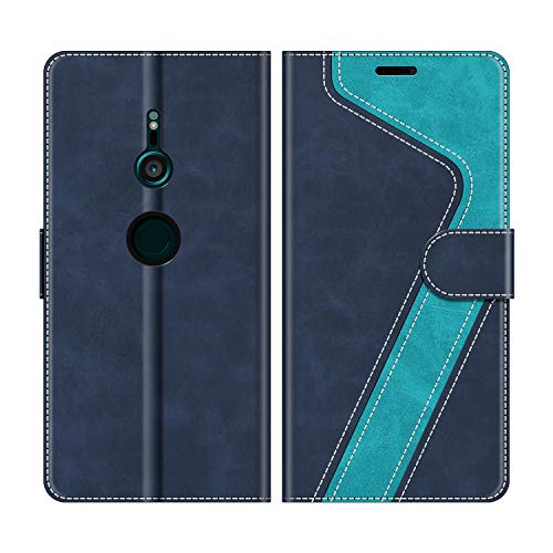 Leder Smartphone (MOBESV Sony Xperia XZ3 Hülle Leder, Sony Xperia XZ3 Tasche Lederhülle Wallet Case Ledertasche Handyhülle Schutzhülle für Sony Xperia XZ3, Modisch Blau)