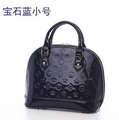 AoBao Ms. pacchetti di trasporto nuovo pacchetto femmina cuoio verniciato lady borsa pacchetto conchiglia piccola borsa donna borse a tracolla (medie :22cm26cm13cm), mini bare di polvere di metallo Il piccolo blu