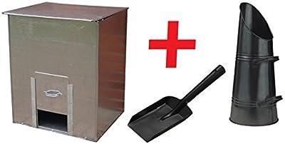 Parasene 5cwt Storage Galvanised Steel Coal Bunker + Coal Hod Scuttle & Shovel