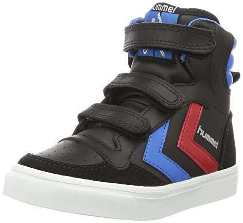 (Hummel Unisex-Kinder Stadil JR Leather High-Top, Schwarz (Black/Brilliant Blue), 32 EU)