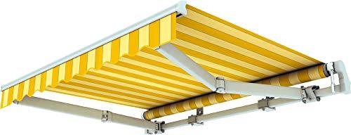 Broxsun Gelenkarmmarkise Sao Paulo | Breite 2m bis 5.3m | 120 Stoffe Farben | Auslage bis 2.5m. manuell oder elektrisch | wetterfeste Markise mit Motor Sonnenschutz Terrasse beschattung breit