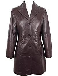 UNICORN Womens Three Quarter Length Coat Real Leather Jacket - Glazed Brown #GO