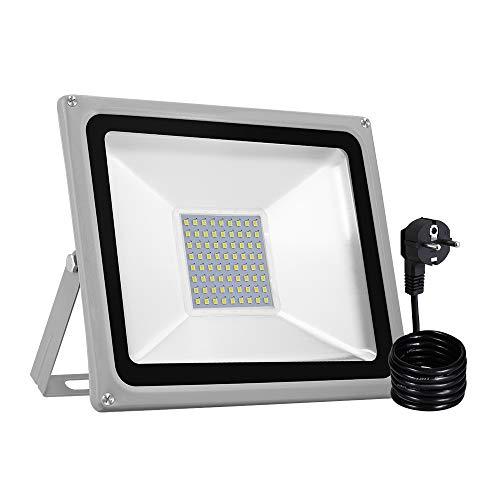 50 W Strahler, LED Fluter XGZ mit Stecker nach Europäischem Standard Flutlicht Außenwandleuchte Sicherheitsleuchte,4000LM für Hof, Garage, Garten -