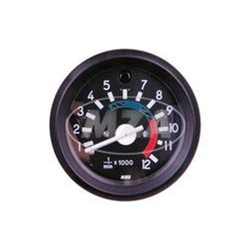 Drehzahlmesser bis 12000U/min - ø 60mm mit schwarzen Ring, Beleuchtung und Kontrollleuchte blau - Leuchtmittel 12V - S51, S70 (Beleuchtung, Kontrollleuchten)