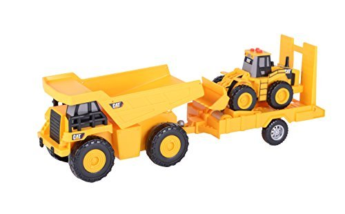 Toy State Light and Sound CAT Truck N' Trailer Dump Pulling Wheel Loader Vehicle by Toystate