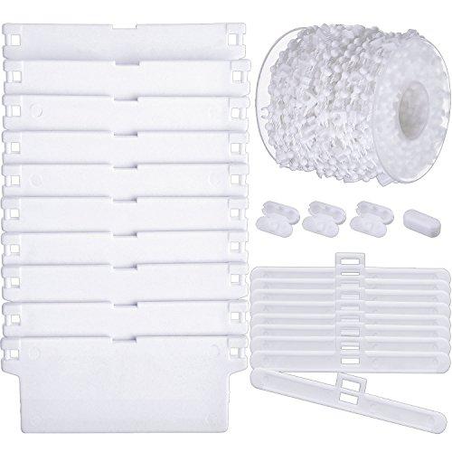 Set di pesi di tende verticali, include 10 pezzi 89 mm bianco lamelle dei pesi inferiori e 10 pezzi appendini top e 1 rotolo 100 link vertical blind catena inferiore con 4 pezzi plastica connettori a catena per 89 mm (3.5 pollici) lamelle