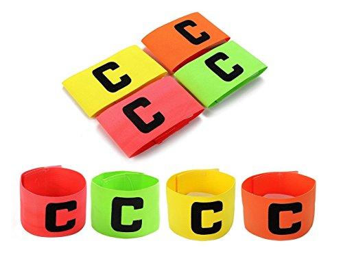 Fußball-Kapitänsschleife, mit zusätzlichem Gummiband als Sicherung, für Kinder und Erwachsene, 4er-Pack, 4 Farben