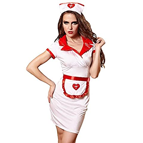 HXQ Femme Sexy Erotique Soins Infirmiers Uniformes Blancs Cosply Costume