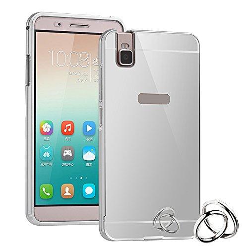 2 en 1 Métal Bumper + PC Back Cover Coque pour Huawei Honor 7 Smartphone,Yihya Luxe Ultra-Fine Housse Miroir Arrière Design Aluminium Métal Bumper Frame Etui de protection Hard Back Case--Argent