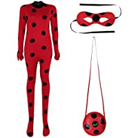 Freebily Déguisement Adulte Coccinelle Costume Femme Homme Miraculeuse Body  Combinaison à Pois   Masque   Sac 75f15062845