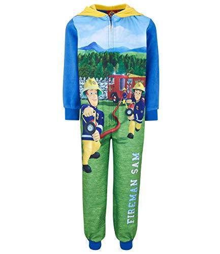 Feuerwehrmann Sam Jumpsuit blau (110) (Kinder Schlafanzug Onsie)