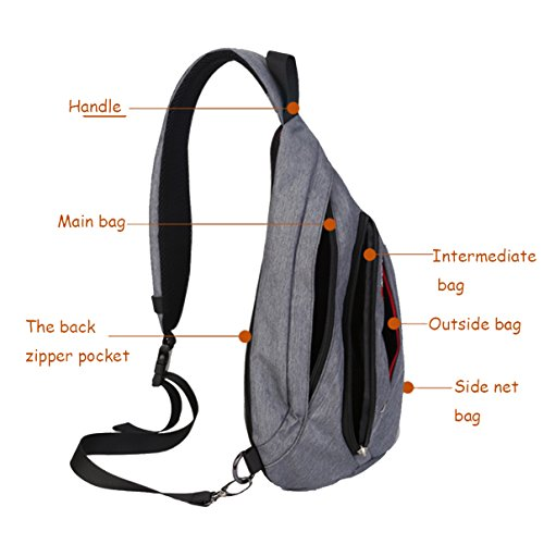 Super Modern Outdoor Sports-Borsa a tracolla in tela, borsa da petto nero - nero