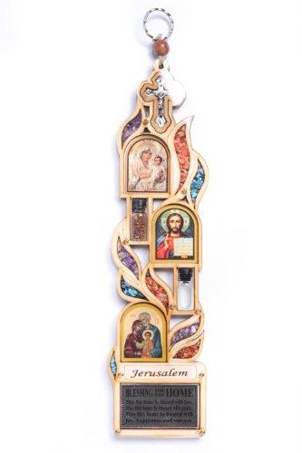 Decorazione da appendere alla parete in legno con icone Maria Gesù Gerusalemme Crocifisso con pietre semipreziose