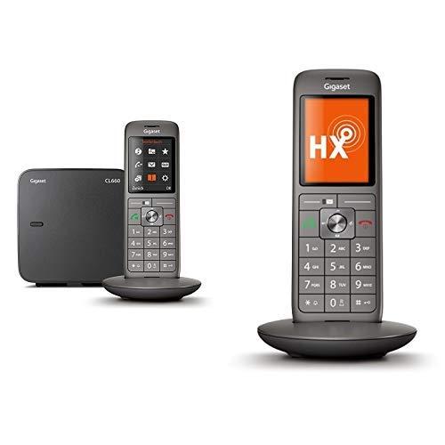 Gigaset CL660 Telefon - Schnurlostelefon / Mobilteil - mit Farbdisplay / Grosse Tasten Freisprechen - Analog Telefon - anthrazit &  CL660HX DECT-/VOIP Schnurlostelefon anthrazit/metallic