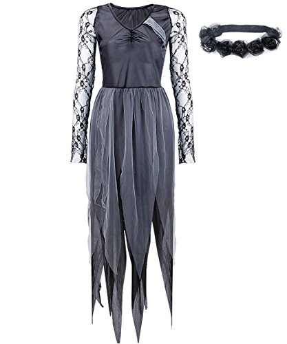 Kostüme Dress Up Zombie (YiZYiF Halloween kostüm Damen Zombie Braut Leiche Vampir Gruseliger Effekt Kleid mit Kopfband Schwarz)