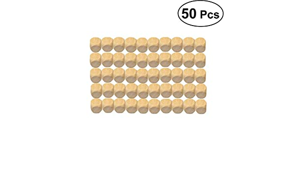 SUPVOX Jeux de D/és Bois Blanc 6 C/ôt/és Carr/és Blocs Bricolage Bois Cubes pour Fabrication de Puzzle Artisanat 50 Pi/èces 14mm