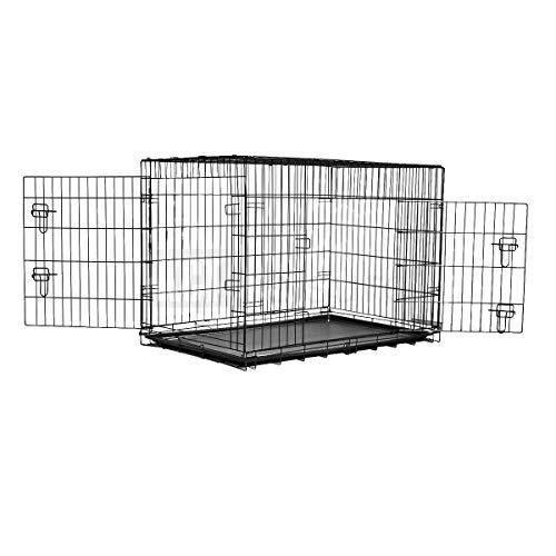 Generic E Me Transportbox für Katzen, mit Futternapf, für Hunde/Katzen, extragroß, Metall