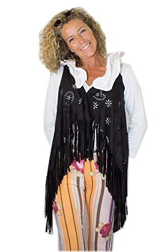 shoperama Damen Fransen-Weste Wildleder-Optik mit Laser Cut Muster für Cowgirl Hippie Indianerin Festival 70er Jahre Western, Farbe:Schwarz