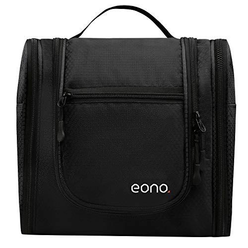 Amazon Marke: Eono Essentials Große Kosmetiktasche für Männer & Frauen für Make-up, Kosmetik, Rasur, Reisezubehör, persönliche Gegenstände - Hängendes Toilettenartikel-Set Make-up Organizer Schwarz