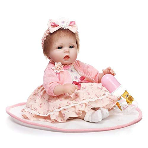 """WXIAORONG Baby wiedergeborene Dolls 17\""""Lovely Real Lifelike Realistic Looking Reborn Baby Girl Doll Handmade Soft Baby Toddler Newborn Dolls Fake Babies Magnetic Mouth"""