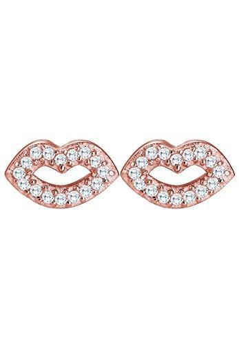 Elli - Boucles d'Oreilles Lèvres - Argent 925 - Oxyde de Zirconium Rose