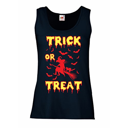 Damen Tank-Top Trick or Treat - Halloween Witch - Party outfites - Scary Costume (XX-Large Blau Mehrfarben)