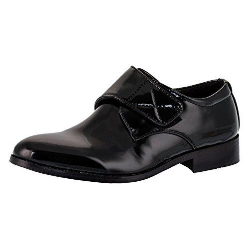 Innen Leder Festliche Kinder Anzug Lack Schuhe Klettverschluss M335sw Schwarz 30