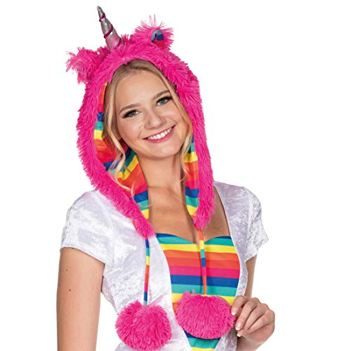 NET TOYS Einhorn-Mütze mit Bommeln   Pink   Zauberhafte Damen-Kopfbedeckung Fantasy Plüschmütze  ...