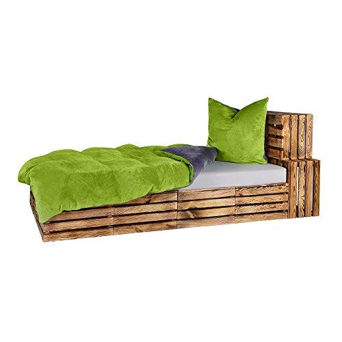 Winter UNI-Wende Cashmere Touch Bettwäsche Anthrazit/Grün 2 tlg. Set 1x135x200 + 1x80x80 cm ähnlich Plüsch Nicky-Teddy-Corals Fleece