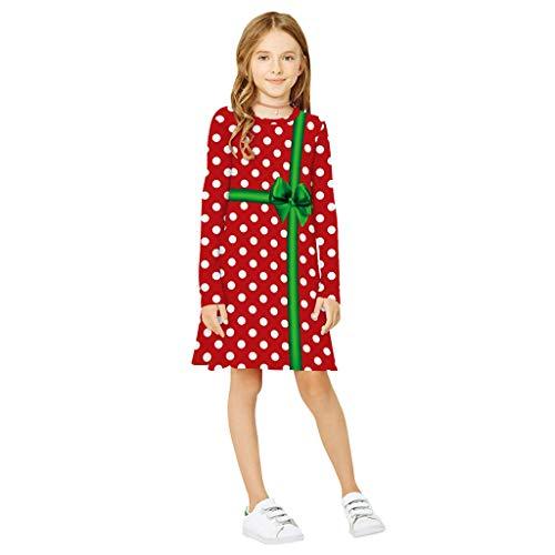 Alwayswin Teen Kinder Mädchen Langarm Weihnachten Kleid 3D Print Cartoon Xmas Kleid Kleidung Casual Mode T-Shirt Kleid O-Ausschnitt Lose Party Prinzessin Kleid Lange Hülsen Tuniken -