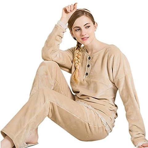 GWELL Ensemble de Pyjama Femmes Vêtement de Nuit Flanelle Doux Chaud Col rond Chambre Manches Longues Epais Chameau