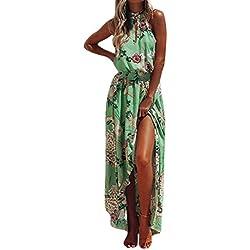 Vestidos Mujer Verano 2018,Mujer bohemio floral largo vestido maxi sin mangas noche fiesta verano playa vestido LMMVP (Verde, L)