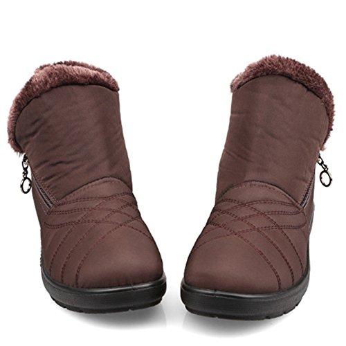 Fortuning's JDS Femmes dames hiver imperméable antidérapant velours thermiques Fermeture éclair latérale bottines chaussures de la mère Bottes de neige Marron