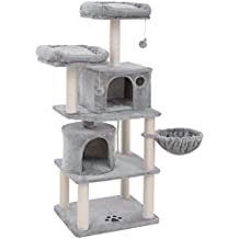 SONGMICS Arbre à Chat Colonne en Sisal, Panier et 2 Niches, Tour à Chat pour Chats PCT90W