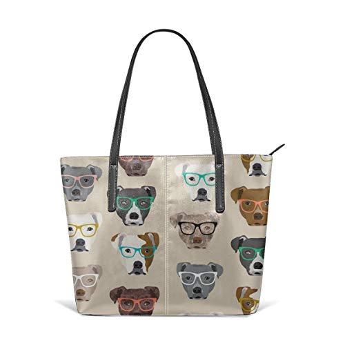 Frauen weiches Leder Tote Umhängetasche Pitbull Heads Brille Pitbull Dog Pitty Brille Dog Brille Cute Dog Tan Fashion Handtaschen Satchel Purse