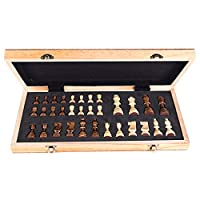 Lixada Portable Wooden Magnetic Chessboard Folding Board Chess Game International Chess Set For Party Family Activities